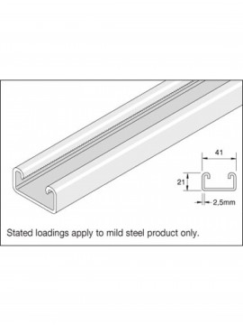 Unistrut 41x21 Stainless Steel 316 Channel 6m (P3300SS) (P3300X6SS) - Quantity Pack 1