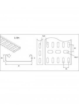 Unistrut Cable Tray Medium Duty Adjustable Riser 100MM Pre-Galvanised (TUMAR100PG) - Quantity Pack 1