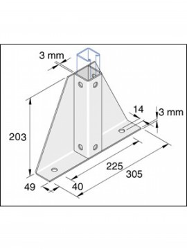 Unistrut Single Delta Channel Base Floor Bracket Fittings 41mm x 41mm Hot Dip Galvanised (P2348-S1) - Quantity Pack 5