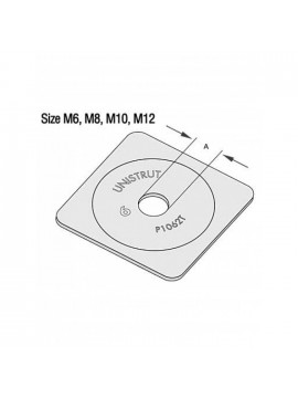 Unistrut Flat Plate Bracket M8 Square Plate Washer Pre-Galvanised (P1062AT) - Quantity Pack 5