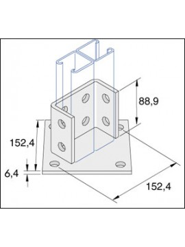 Unistrut Channel Base Floor Bracket Fittings Hot Dip Galvanised (P2073A) - Quantity Pack 1