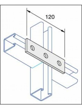 Unistrut Flat Plate Channel Support Bracket 3 Hole Hot Dip Galvanised (P1066) - Quantity Pack 5