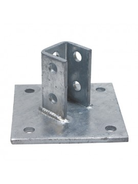 Unistrut Double Fix 2-Hole Channel Base Floor Bracket Fittings 41x41 Hot Dip Galvanised (P2072A) - Quantity Pack 5