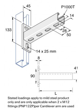 Unistrut Slotted Cantilever Arm 150mm Arm Length Hot Dip Galvanised (P2663T/150) - Quantity Pack 1
