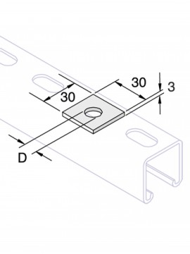 Unistrut Flat Plate Bracket M10 Square Plate Washer Pre-Galvanised (P1063T) - Quantity Pack 5