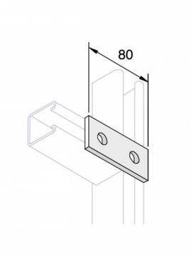 Unistrut Flat Plate Channel Support Bracket 2 Hole Hot Dip Galvanised (P1065) - Quantity Pack 5